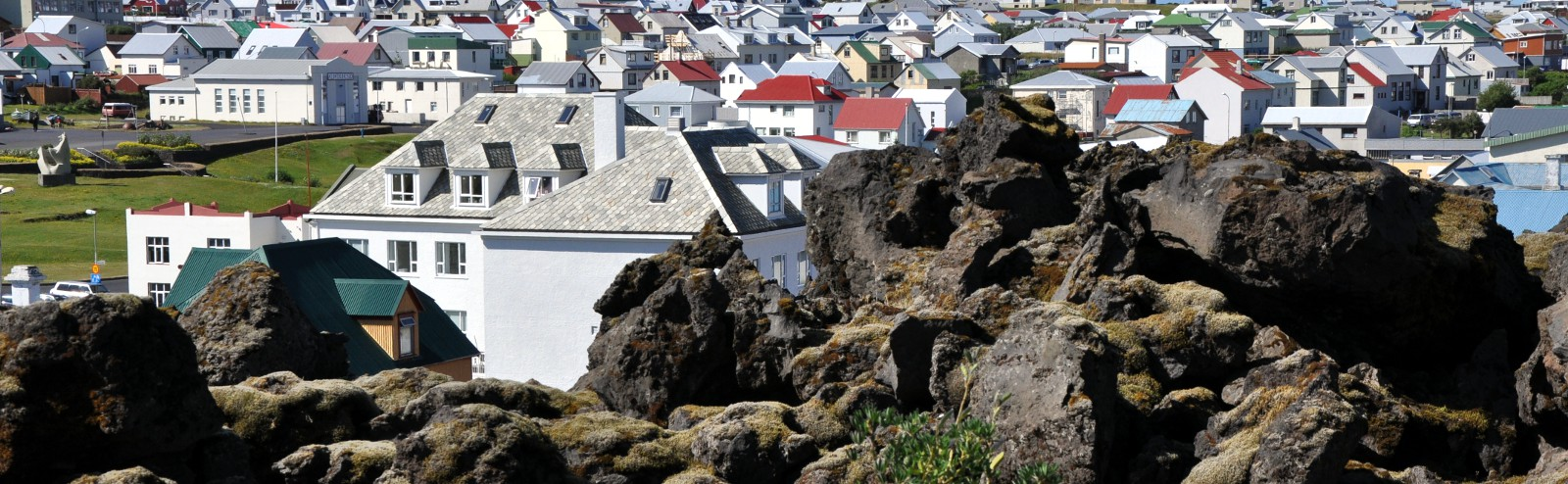 vestmannaeyjar city view with lava