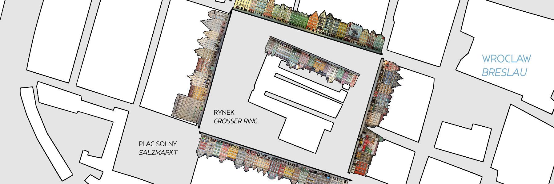 Stadtkarte Breslau Großer Ring Rynek