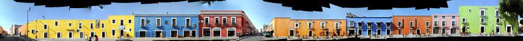 Puebla streetview street front panorama