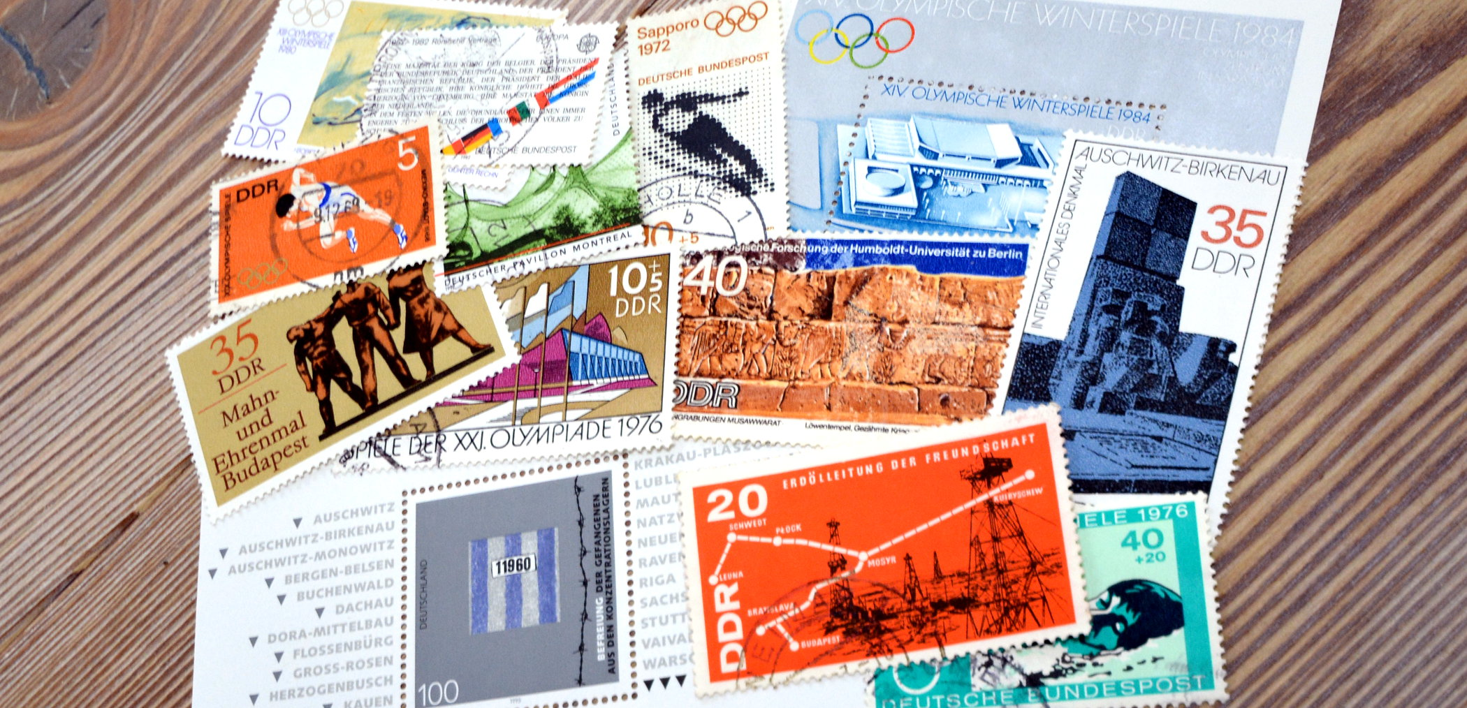 Cities on german stamps Budapest Moscow Montreal Rome