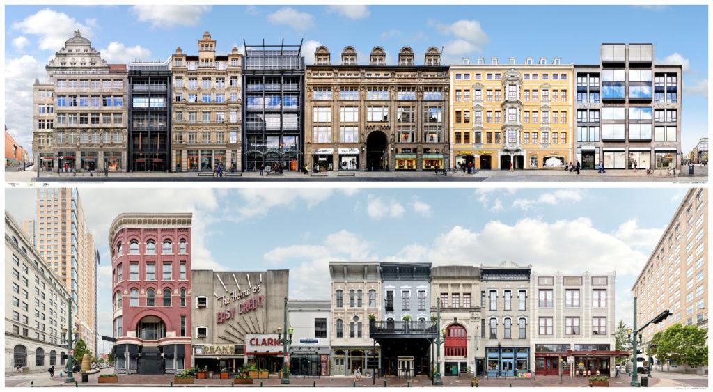 Leipzig Grimmaische Strasse und Houston Main Street Panorama mit Architektur und Fassaden