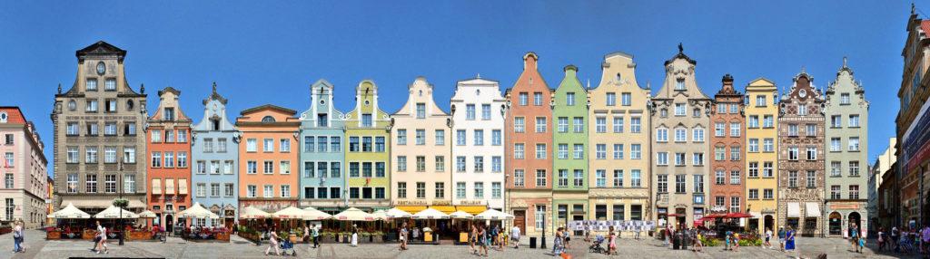 Gdansk panorama streetline Poland