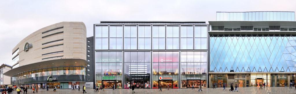 Streetline Fassaden Panorama der Zeil in Frankfurt FFM, Hessen