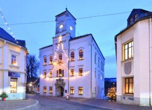 Lössnitz Ore Mountains Town Hall at Christmas Lighting, Saxony