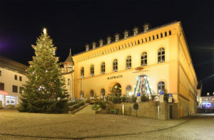 Reichenbach Vogtland Sachsen, Saxony Christmas Market and Town Hall