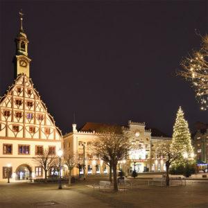 Gewandhaus Zwickau Christmas Market with Christmas Tree